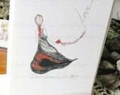 Love - Fine Art Greeting Card - Heart Card - Line Drawing Art - Kite Card