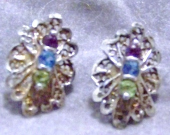 Vintage Sterling Silver And Genuine Gemstone Filigree Lace Design Pierced Earrings