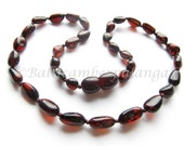 Baltic Amber Baby Teething Necklace Cherry Color Olive Form Beads