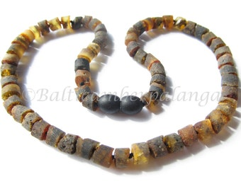 Baltic Amber Teething Necklace, Raw Black Tube Shape Beads