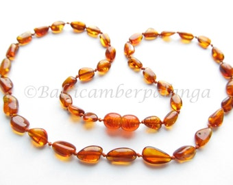 Baltic Amber Necklace Cognac Color Olive Form Beads. For Adults