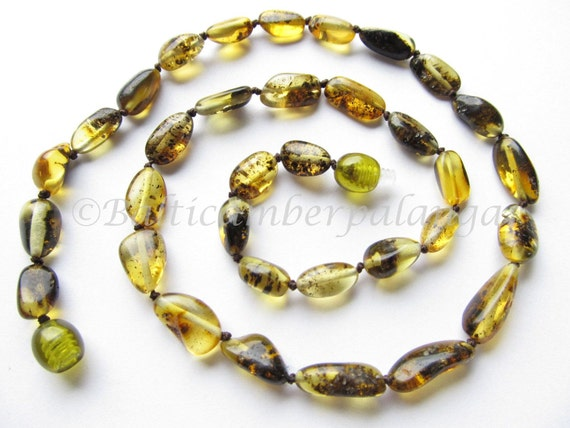 Baltic Amber Necklace Green Color Olive Beads. For Adults