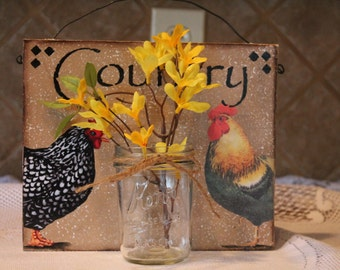 Rooster and Hen Mason Jar Plack...Country Wall Hanging...Home Decor..Rooster Collector...Rooster Decor