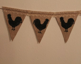 Rooster Banner Burlap and lace...Rooster Collector..Country Decor..Rooster Decor...Housewarming Gift..Burlap Banner..