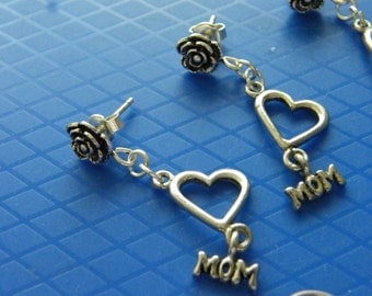 Mom Earrings! Roses, Hearts, & MOM Charm, Dangle Earrings! Sterling Silver Studs, or Fish Hooks! Valentine, Birthday Gift, Mother's Day Gift