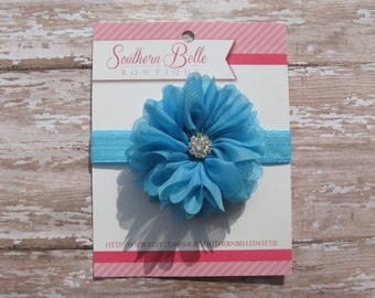 Baby headband, infant headband, newborn headband - ocean blue chiffon scalloped ruffle flower and rhinestone center headband