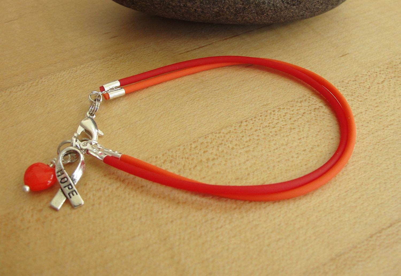 Orange And Red Awareness Bracelet Rubber Myeloproliferative