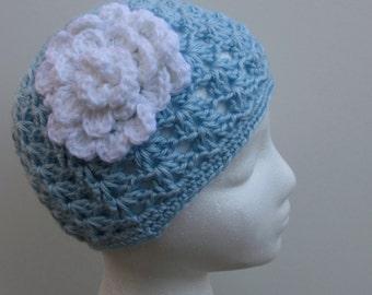 Crochet Blue Beanie Hat with White Flower