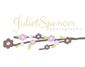 Premade Logo for Photographers and Small Crafty Boutiques Vintage Purple Cherry Blossom Branch