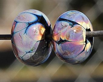 Raku Magic PAIR Handmade Lampworked Glass Beads OOAK Pair of Beads Rondelles Black Blue Purple Pink Yellow Lampwork