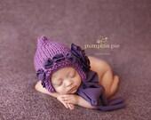 Purple Pixie Bonnet, Newborn Size, Photo Prop