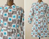 SALE 1970s Mod Dress / 70s Dress / Plus Size // Blue a Kiss Dress