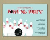 Bowling Brithday Invitation - Personalized DIY Printable Digital File