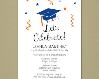 Custom Graduation Invitation - Let's Celebrate - DIY Printable Digital File
