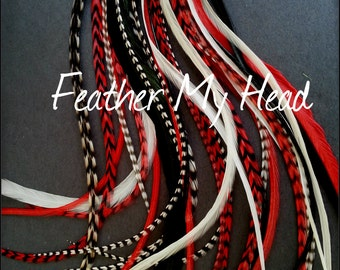"16 DIY Kit Whiting Feather Hair Extensions  Extra Long 11""-14"" (28-36cm) Rock Star - Back Red White - Beads / Instructions"