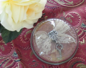 Lace Key Charm Glass Paperweight