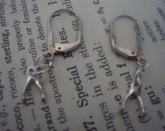 Sterling Silver Simple tiny wishbone good luck earrings