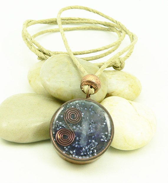 Orgone Energy Copper-Hemp-Amethyst Necklace - Recycled - Reclaimed - Eco Friendly Jewelry - Unisex Necklace - Artisan Jewelry