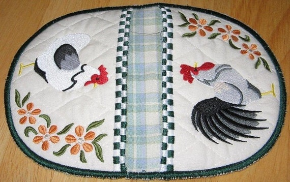 Pot Holder Rooster & Hen Embroidered