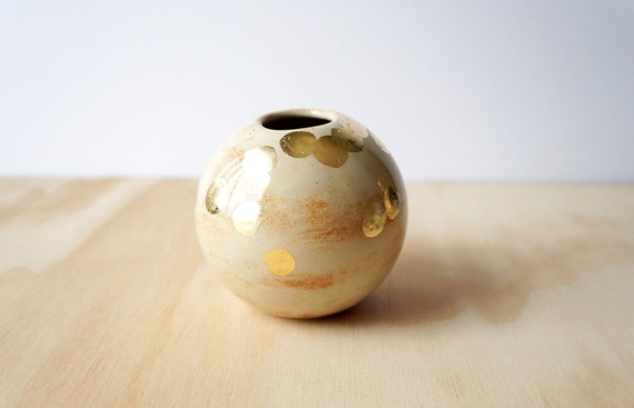 Gold Leaf Ball Vase