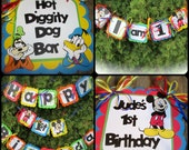 MIckey Mouse Party Set - primary color Birthday Banner high chair banner door signs