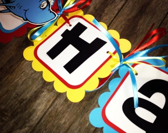 Dr Suess inspired birthday banner one fish two fish, red fish blue fish