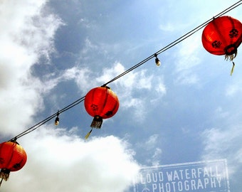 Chinatown Red Lanterns, Paper Lanterns on Wire, Downtown Los Angeles 8x8 10x10 12x12 20x20 Fine Art Travel Photograph