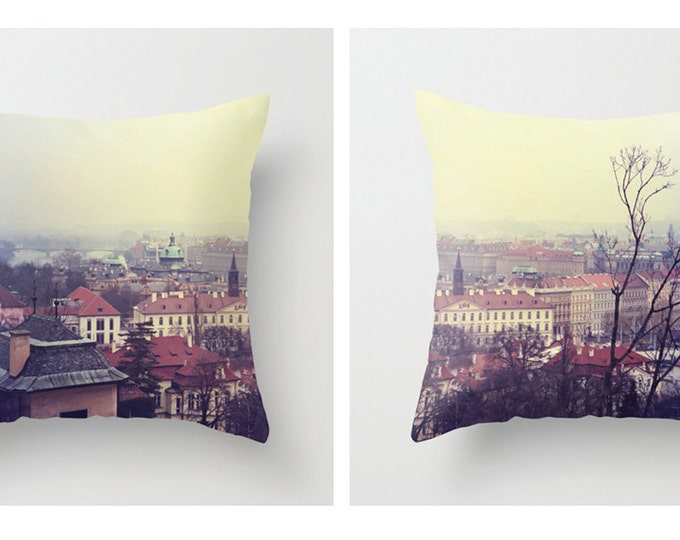 Prague Cityscape Sofa Pillow, Soft Accent Pillow, Neutral Throw Pillow Cover, 18x18 22x22 Decorative Pillow Cushion SET OF TWO