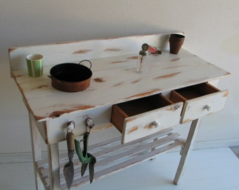 Potting Bench, Cottage Chic, Rusty Bucket with Two Drawers, White or Green, Please specify color on your order.