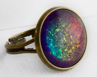 Supernova Ring in Antique Bronze - Rainbow Holographic Ring
