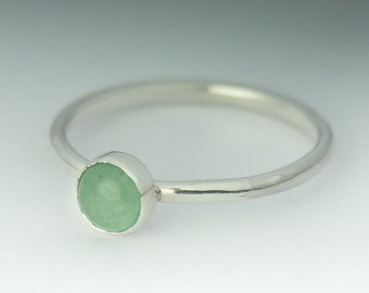 Aventurine Ring - Stackable Sterling Silver Aventurine Ring