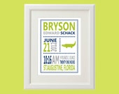 Custom Alligator Birth Stats Nursery Art (More Colors & Sizes Available) Custom Nursery Art