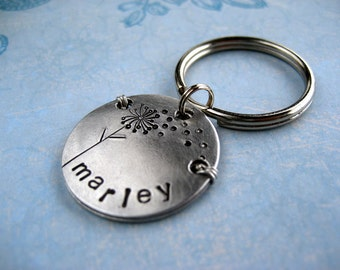Unique Pet Id Tag - Handmade - Hand stamped Aluminum Pet Tag - Small Breed Dog - Cat Tag - Aluminum Backer - Wire Wrap