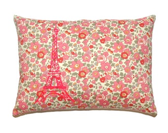 Neon Pink Paris Eiffel Tower Printed on Betsy Liberty Fabric Pillow cover - More Sizes Avalaible