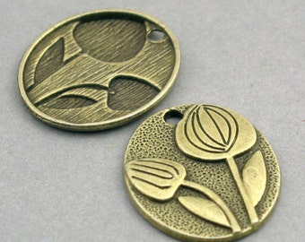 Tulips Charms Beads Antique Bronze  tone 6pcs base metal oval discs Charms 21X24mm CM0329B