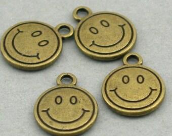 Smile Happy Face Charms Beads Antique Bronze tone 8pcs base metal 12mm CM0374B