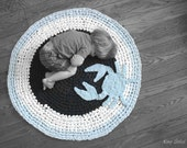 Custom Crochet Crab Rug Navy, Baby Blue, and White Cotton Round Circle Rug Custom Colors Nautical Nursery Kids Rug - KingSoleil