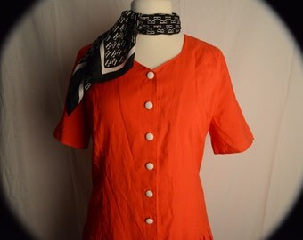 80s Vintage Red Drop Waist Dress & B Neck Scarf. size L-XL