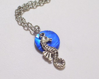 Antiqued Silver Seahorse and Indigo Blue Mussel Shell Pendant Necklace
