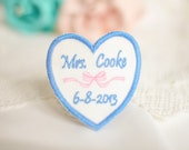 Wedding Dress Label, Something Blue, Embroidered Personalized Bow Heart Frame