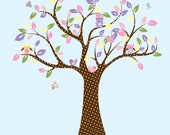 Kids Tree with 3 owls birds and butterflies nursery vinyl wall decal