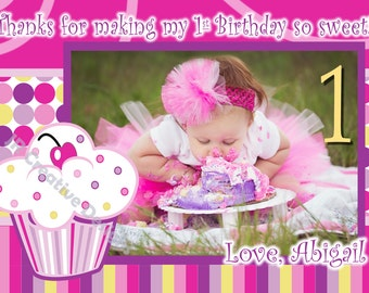 Cupcake Thank You Birthday Party lil Cupcake Thank You Photo   Picture Thank You  Purple Pink  Girl 1st Birthday
