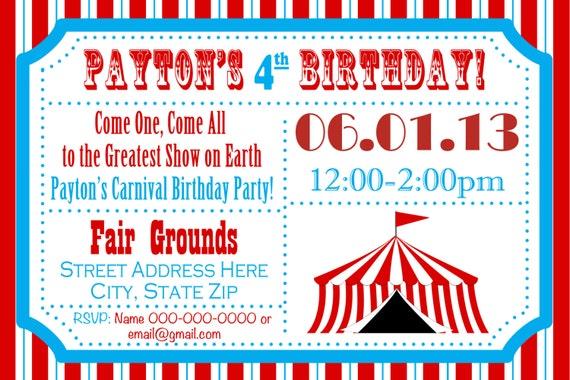 Carnival Party Invitations gangcraftnet – Carnival Ticket Birthday Invitations