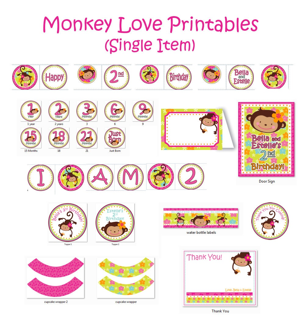 monkey love printout birthday 1 year old 2 by jrcreativedesigns. Black Bedroom Furniture Sets. Home Design Ideas