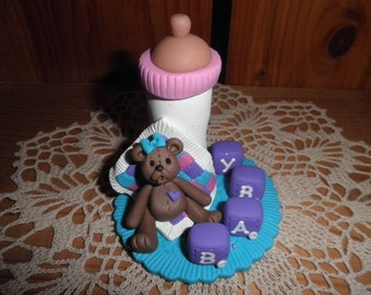 Polymer Clay Baby-Baby Shower Cake Topper/Keepsake/Gift