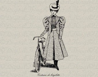 French Script Bicycle Paris Edwardian Fashion Art Printable Digital Download for  Iron on Transfer Fabric Pillows Tea Towels Poster DT742