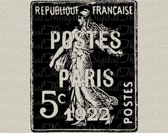 French Stamp Paris Stamp French Postmark French Decor Printable Digital Download for Iron on Transfer Fabric Pillows Tea Towels DT1025