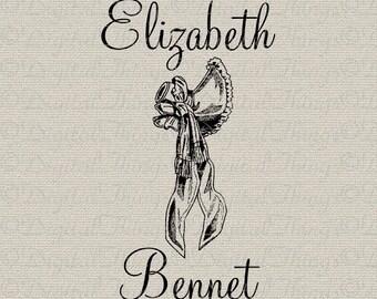 Jane Austen Pride and Prejudice Elizabeth Bennet Wall Decor Art Printable Digital Download for Iron on Transfer Tote Pillow Tea Towel DT1123