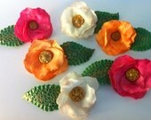 Edible flowers with Vintage button centers for cakes or cupcakes
