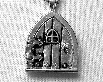 "Hobbit Hole / Fairy Wish Door Locket Necklace, Classic Silver Finish, 18"""